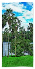 Waokele Pond Palms And Sky Beach Towel