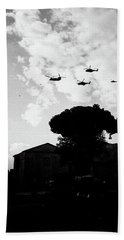 War Helicopters Over The Imperial Fora Beach Sheet
