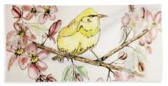 Warbler In Apple Blossoms Beach Sheet by Maria Urso
