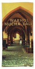Beach Towel featuring the photograph Warhol Mucha Dali. Series Golden Prague by Jenny Rainbow