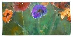 Warm Aqua Floral By Lisa Kaiser Beach Towel