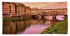 Sunset At Ponte Vecchio In Florence, Italy Beach Towel