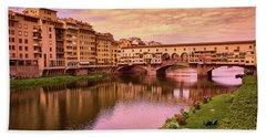 Warm Colors Surround Ponte Vecchio Beach Towel