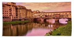 Sunset At Ponte Vecchio In Florence, Italy Beach Sheet