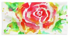 Warm Red Rose  Beach Towel