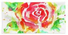 Warm Red Rose  Beach Sheet