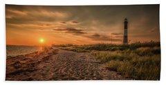 Warm Sunrise At The Fire Island Lighthouse Beach Towel
