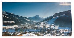 Warm Winter Day In Kirchberg Town Of Austria Beach Towel