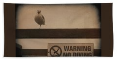 Warning No Diving 2 Beach Towel by Ernie Echols
