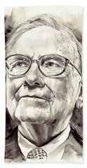 Warren Buffett Watercolor Beach Towel