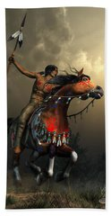 Warriors Of The Plains Beach Towel by Daniel Eskridge