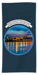 Warsaw Souvenir T-shirt Design 1 Blue Beach Towel