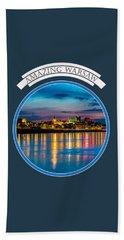 Warsaw Souvenir T-shirt Design 1 Blue Beach Sheet by Julis Simo