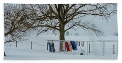 Wash On The Line In December Snow Beach Towel