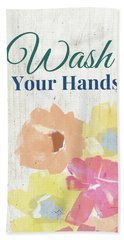 Beach Sheet featuring the painting Wash Your Hands Floral -art By Linda Woods by Linda Woods