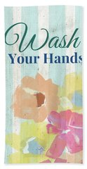Beach Sheet featuring the painting Wash Your Hands Floral Stripe- Art By Linda Woods by Linda Woods