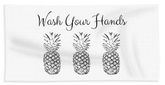 Wash Your Hands Pineapples- Art By Linda Woods Beach Towel