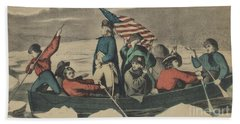 Washington Crossing The Delaware On The Evening Previous To The Battle Of Trenton Beach Towel