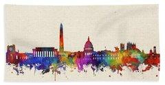 Washington Dc Skyline Watercolor 2 Beach Sheet