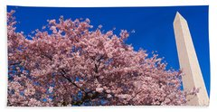 Washington Monument & Spring Cherry Beach Towel by Panoramic Images