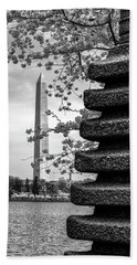 Washington Monument By Japanese Memorial Gift To Usa Beach Towel by Paul Seymour