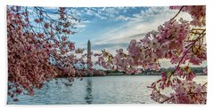 Washington Monument Through Cherry Blossoms Beach Sheet