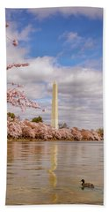 Washington Monument With Cherry Blossom Beach Towel by Rima Biswas