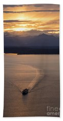 Washington State Ferry Sunset Beach Towel by Mike Reid
