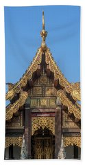 Beach Towel featuring the photograph Wat Jed Yod Gable Of The Vihara Of The 700 Years Image Dthcm0963 by Gerry Gantt