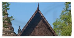 Beach Towel featuring the photograph Wat Jed Yod Phra Ubosot Teakwood Gable Dthcm0968 by Gerry Gantt