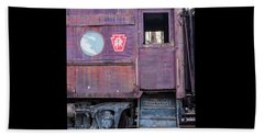 Beach Towel featuring the photograph Watch Your Step Vintage Railroad Car by Terry DeLuco
