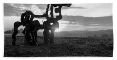 Watchful The Iron Horse  Beach Towel