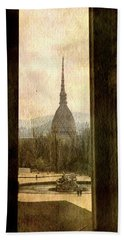 Watching Antonelliana Tower From The Window Beach Towel