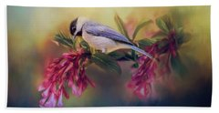 Watching Flowers Bloom Bird Art Beach Towel by Jai Johnson