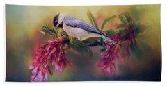 Watching Flowers Bloom Bird Art Beach Sheet by Jai Johnson