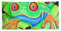 Watching You Red Eyed Tree Frog Beach Towel