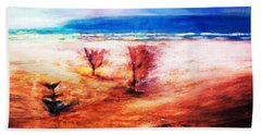 Beach Towel featuring the painting Water And Earth by Winsome Gunning