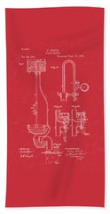 Water Closet Patent Art Red Beach Towel