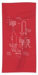 Water Closet Patent Art Red Beach Towel