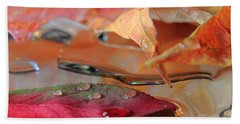 Water Drops On Autumn Leaves Beach Sheet