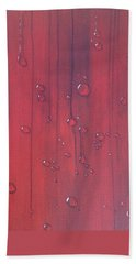 Water Drops On Red Beach Sheet by T Fry-Green