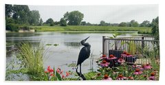 Water Garden With Crane Beach Towel