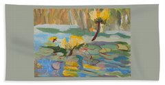 Beach Sheet featuring the painting Water Lilies by Francine Frank