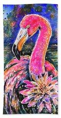 Beach Towel featuring the painting Water Lily And Flamingo by Zaira Dzhaubaeva