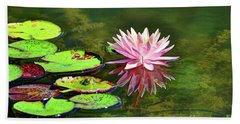 Water Lily And Frog Beach Towel