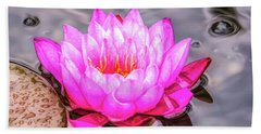 Water Lily In The Rain Beach Towel
