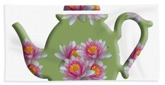 Water Lily Pattern Teapot Beach Towel