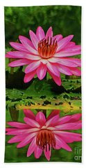 Hot Pink Water Lily Reflection Beach Towel