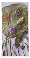 Water Lily Seed Pods Framed By A Leaf Beach Towel