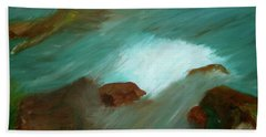 Water Over The Rocks Beach Towel